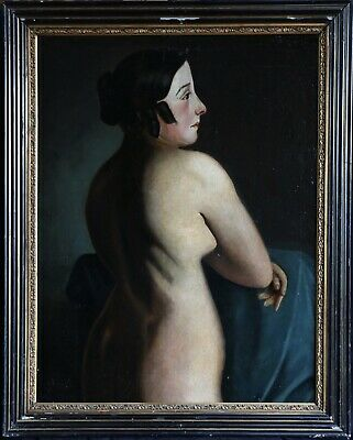 c. 1800 HUGE FRENCH NEOCLASSICAL OIL CANVAS - FEMALE NUDE STANDING ACADEMIC OIL