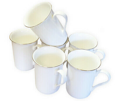 SET OF 6 Fine Bone China Mugs With Gold Rim Gift Boxed Glossy White Cups