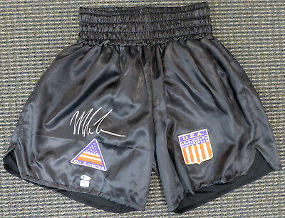 Mike Tyson Authentic Autographed Signed Black Boxing Trunks Beckett 155797
