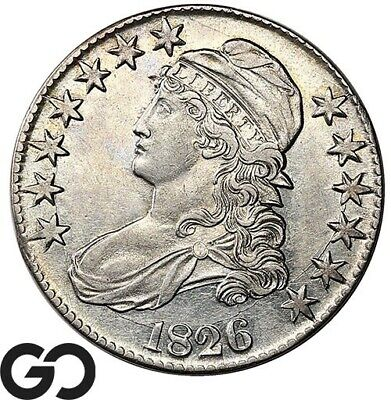 1826 Capped Bust Half Dollar, Very Nice Choice AU++ Silver 50c