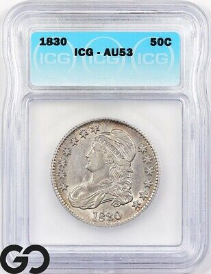 1830 AU53 Capped Bust Half Dollar ICG Almost Uncirculated 53 ** Free Shipping!