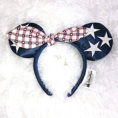 Disney Parks All American Girl Minnie Ears Headband Americana USA Red White Blue