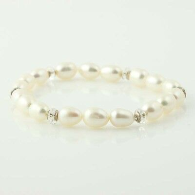 "NEW Freshwater Pearl & Rhinestone Bracelet 7 1/4"" - Sterling Beaded Stretch Band"