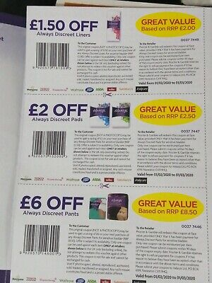 Always Discreet Money off Vouchers Worth £9.50 Liners, pads & pants