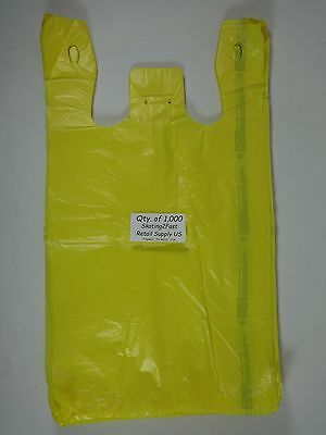 "1000 Qty. Yellow Plastic T-Shirt Retail Shopping Bags w/ Handles 11.5"" x 6""x 21"""