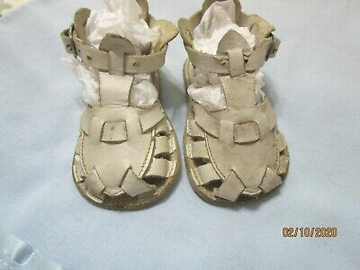 Antique Leather Baby Shoes, Open Toe, Buckle Strap,  size 0