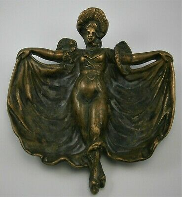 Antique Figural Lady Cast Brass Ashtray from the early 1900's or earlier