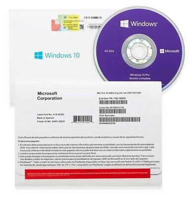 Microsoft Windows 10 Professional Oem With 64 Bit Dvd And Product Key(Coa)