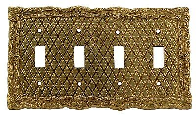 Harris Hardware (100/6) solid brass antique wall plate switch for four switches