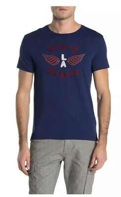 NWT $98 John Varvatos Star USA City of Angels Graphic T-Shirt in Navy Size M