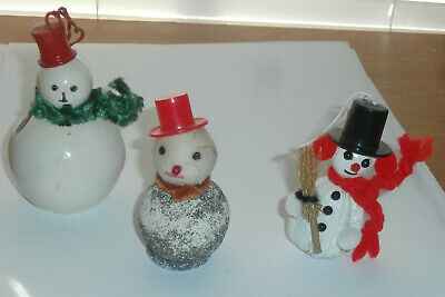 Lot of 3 Vintage Christmas Snowmen Ornaments Figures Candy Container Cute