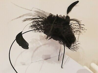PHASE EIGHT Black slim headband Fancy Fascinator BNWT Net, Flower & feather