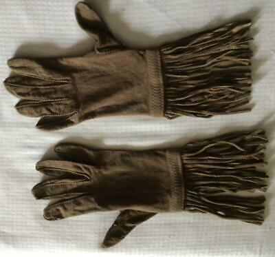 """Rare 1960's Soft Brown Suede Gloves w 4"""" Fringe Sz 6 1/2 ~ Beautiful! OOAK Hippy"""