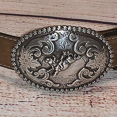 New NOCONA Western Snap Leather Belt & removable Rodeo Bullrider Buckle Boys 22