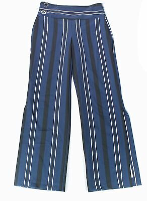 INC Womens Pants Blue Size 2 Dress Striped Wide-Leg Regular Fit Stretch $79 437