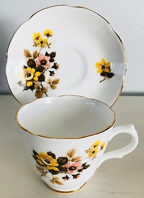 Royal Grafton Fine Bone China Cup & Saucer Autumn Floral Design Made in England