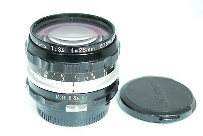 【EXC+】NIKON NIKKOR-H Auto F/3.5 2.8cm 28mm Lens From Japan Clean Lens