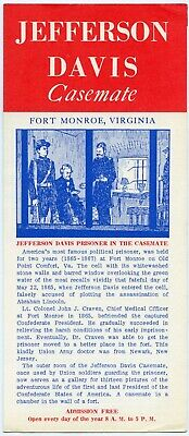 Vintage 1960s Jefferson Davis Casemate Tourist Travel Fort Monroe VA Brochure