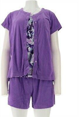 Carole Hochman Daisy Floral Baby French Terry 4Pc Lounge Purple P2X NEW A290142