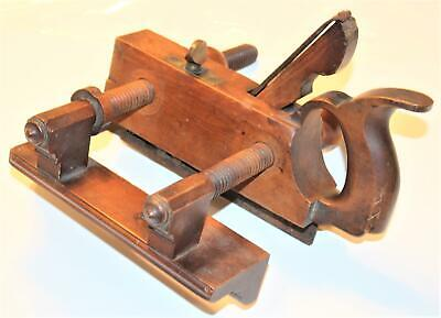 Antique M. Crannell Handled Rosewood & Boxwood Plow Plane, Bronze Fittings,Vg+++