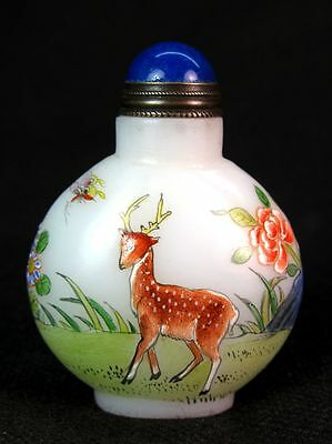 Chinese Spotted Deer Hand Painted Peking Glass Snuff Bottle