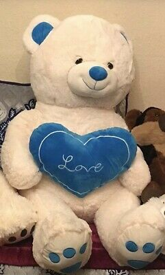 Giant Large 120cm White Teddy Bear With Blue 'I Love You' Heart For Valentines.