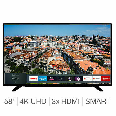 4K Ultra HD With HDR10 HLG Dolby Vision HDR Freeview HD 3x HDMI 58 Inch Smart TV