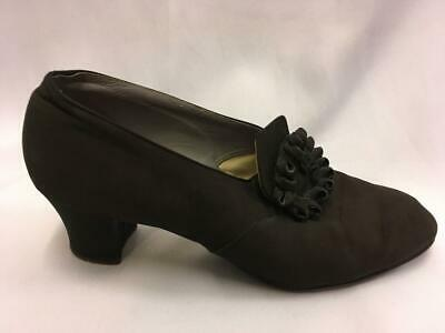 Vintage 1930s / 1940s  Black leather and fabric Shoes Size 7.5  VE day WW2