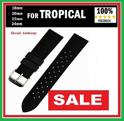 """BLACK"" FOR FITS TROPICAL STYLE WATCH STRAP 18mm 20mm 22mm 24mm DIVERS  RUBBER"