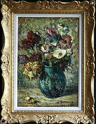 Joseph Hurard (1887-1956) Large Signed French Impressionist Oil Flowers In Vase