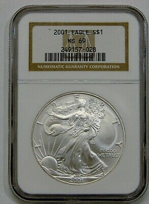 2001 - Silver American Eagle - NGC MS 69 - Brown Label