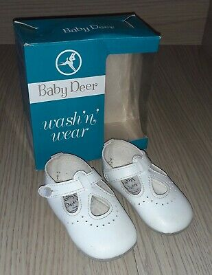 Vintage 1970s Baby Deer Baby Shoes Size 2 in Original Box Christening Shoes