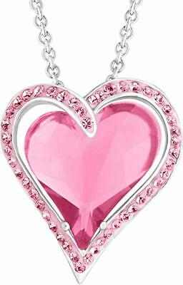 "Crystaluxe Heart Pendant w/ Rose Swarovski Crystals Sterling Silver 18"" Necklace"