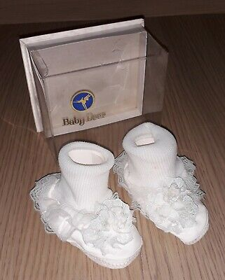 Vintage 1970s Baby Deer Baby Shoes Size 1 in Original Box Christening Shoes