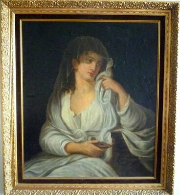 "ANTIQUE BAROQUE OIL PAINTING ON CANVAS ""PORTRAIT OF NOBLE LADY "" 1700-1800 ca"