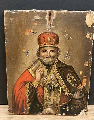VERY SPECIAL RUSSIAN ORTHODOX ICON St. Nicholas 19C ANTIQUE CHRISTIAN SAINT Old