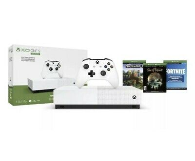 Xbox One S 1TB Bundle with Controller and 3 Games Fortnite, Sea Of Thieves, MC