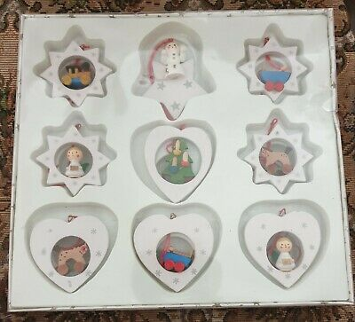 9 wooden Christmas tree decorations ,,,new ..SALE