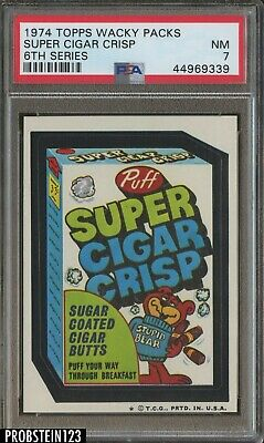 1974 Topps Wacky Packs 6th Series Super Cigar Crisp PSA 7 NM