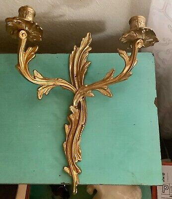 French  Vtg Rococo Louis XV style Bronze Brass double wall sconce candle holder