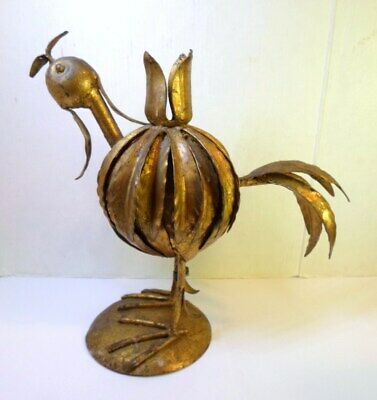 "Vintage GILT METAL ROOSTER CANDLESTICK Hollywood Regency TOLE Made ITALY 8"" Tall"