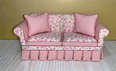 Miniature Dollhouse 1:12 Scale - Lee's Minis Shabby Chic Pink Sofa - Sc100