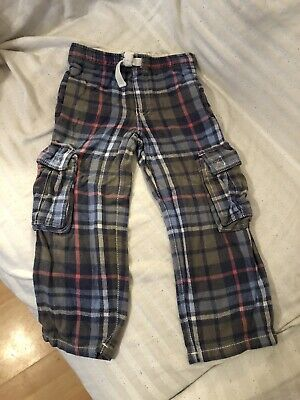 Mini Boden Boys Checked Tartan Soft Warm Cargo Trousers 6 years