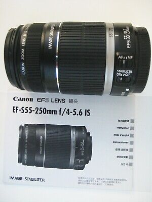 Canon EF-S 55-250mm f4-5.6 IS Lens w/ Lens Caps & Lens Instructions