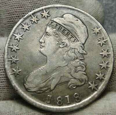 1818 Capped Bust Half Dollar 50 Cents -  Nice Coin, Free Shipping (9123)