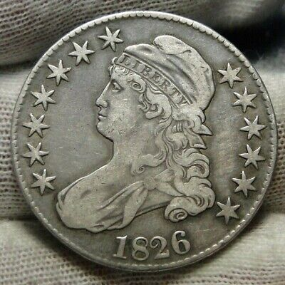 1826 Capped Bust Half Dollar 50 Cents - Nice Coin, Free Shipping (9136)
