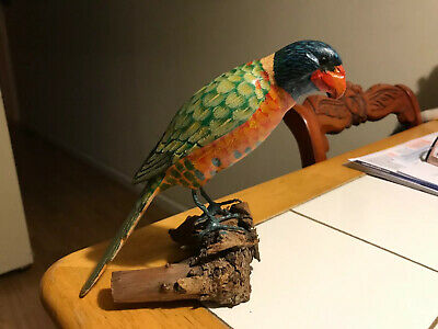 VTG Beautiful Handcrafted Wood Parrot Hand Painted Perched On Drift Wood 8 1/2""