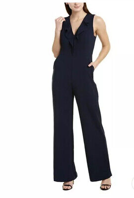 NWT $298 BCBG MAX AZRIA Ruffled Sleeveless Jumpsuit Size 6 in Black