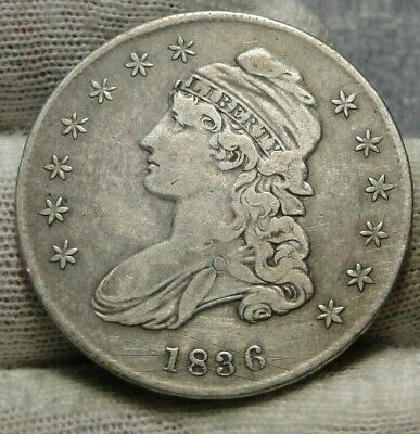 1836 Capped Bust Half Dollar 50 Cents, Nice Coin Free Shipping  (9156)