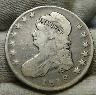 1818 Capped Bust Half Dollar 50 Cents -  Nice Coin, Free Shipping (9162)